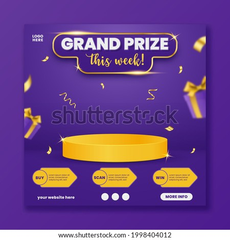 Grand prize announcement social media template with podium and flying gift box, vector illustration.