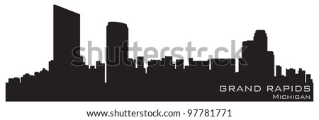 Grand Rapids, Michigan skyline. Detailed vector silhouette