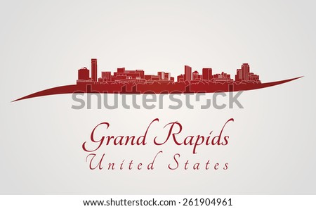 grand rapids skyline in red and