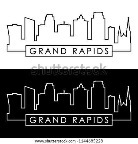 Grand Rapids skyline. Linear style. Editable vector file.