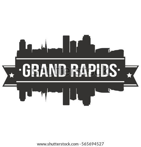 Grand Rapids Skyline Stamp Silhouette City Design