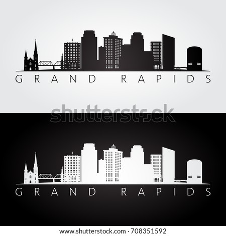 Grand Rapids USA skyline and landmarks silhouette, black and white design, vector illustration.