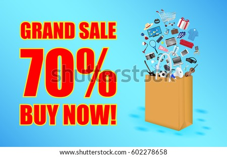 grand sale with paper bag and