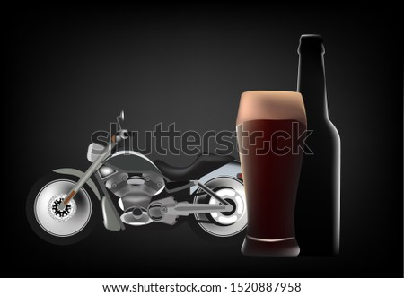 Grand touring bike with glass and bottle of dark beer