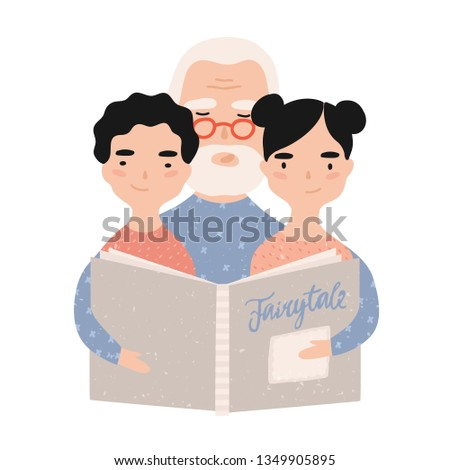 Granddad reading book with grandchildren. Grandfather telling fairytales to his grandson and granddaughter. Portrait of elderly grandparent and grandkids. Illustration in flat cartoon style.