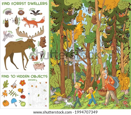 Grandfather and grandchildren and dog go to forest for mushrooms. Find all animals in picture. Find 10 hidden objects in picture. Puzzle Hidden Items. Funny cartoon character. Vector illustration. Set
