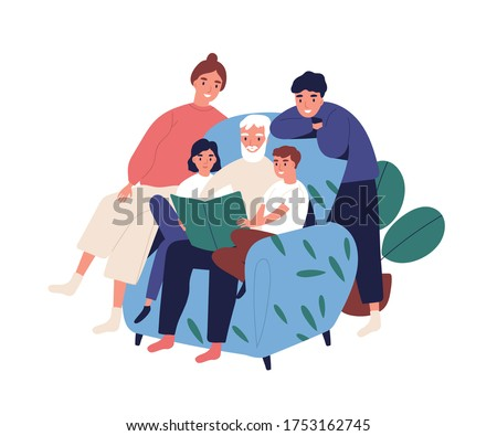 Grandfather and relatives reading book sitting on armchair vector flat illustration. Big happy family spending time together isolated on white. Old man with children and grandchildren relax at home.
