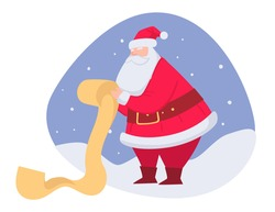 Grandfather frost reading list of wishes for xmas. Santa Claus with long scroll. Noel christmas celebration. Winter holidays and festive mood. Character in traditional costume, vector in flat style