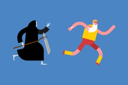 Grandfather runs away from death. grim Reaper is running after grandfather