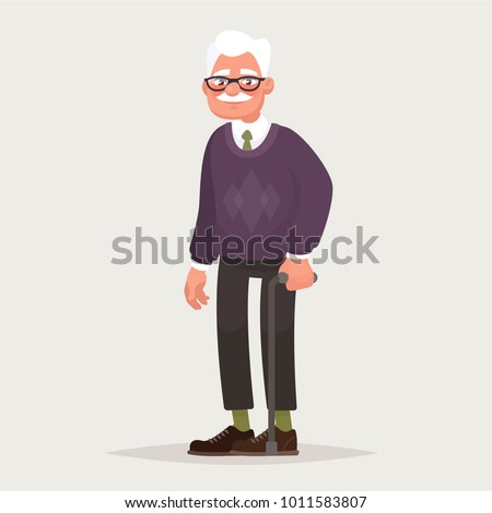 Grandfather wearing glasses. An elderly man with a cane in his hands. Vector illustration in cartoon style