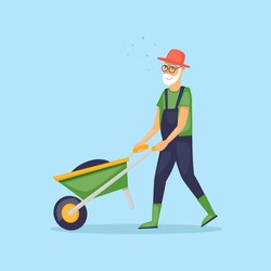 Grandfather with a wheelbarrow, pensioner, gardener. Flat design vector illustration.
