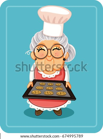 Grandma Baking Chocolate Chips Cookies Vector Illustration - Vector  illustration a cute granny with a tray of sweets