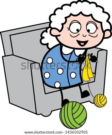 Grandma Weaving Wool - Old Woman Cartoon Granny Vector Illustration