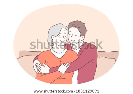 Grandmother and grandchild, happy family, generations concept. Happy smiling boy teen cartoon character sitting on sofa and embracing elderly senior woman grandmother and expressing love and care