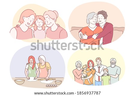 Grandmother and grandchild, happy family with grandparents concept. Happy smiling grandparents helping children in cooking, feeling love from relatives and making family photo together illustration