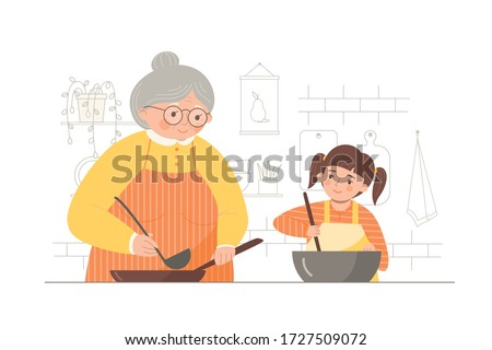 Grandmother and little granddaughter making food together. Cooking with kids. Vector illustration in a flat trendy style on a white background. Foto stock ©