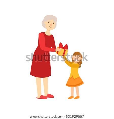 grandmother giving present to