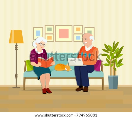 Grandmother, grandfather and cat sitting on the couch with notebook and book. Vector flat illustration