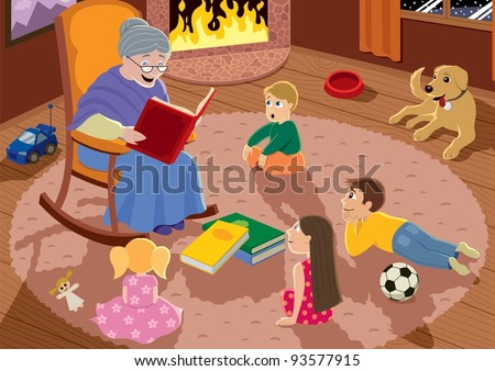Grandmother: Granny is reading fairy tales to her grandchildren.  No transparency and gradients used.