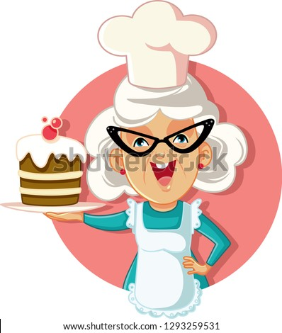 Grandmother Holding Cake Vector Cartoon. Funny granny with homemade sweet treat, chef hat and apron