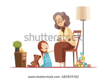 Grandmother home talking to little granddaughter with teddybear senior woman character retro cartoon poster vector illustration