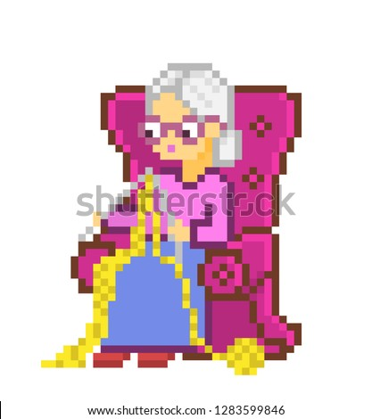 Grandmother in armchair knitting, 8 bit pixel art character isolated on white background. Old lady in glasses at needlework. Retired woman at handcraft. Hobby mascot, happy granny. Hand made logotype.