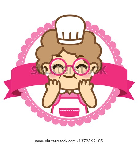 Grandmother is cooking.Cute style.
