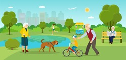 Grandmother is walking with a dog. Grandfather sitting on the bench Young woman running  and grandfather teaches grandchildren to ride a bicycle in the park. Vector flat illustration