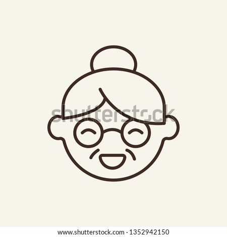 Grandmother line icon. Happy, granny, grandparent. Portrait concept. Can be used for topics like generation, pensioner, expression