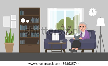 grandmother sit on a sofa and read a book in living room. senior woman sitting on couch in living room reading a book. Vector illustration.
