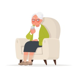 Grandmother sits in a chair and holds a phone in her hand. Vector illustration in cartoon style
