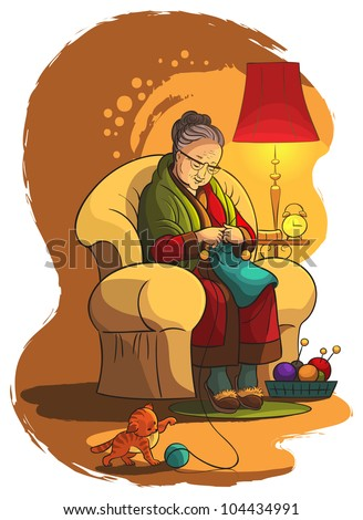 Grandmother sitting in armchair and knitting. A lifestyle, house and family theme. Also available raster version