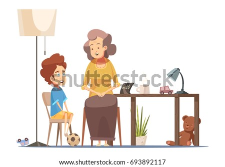 Grandmother talking to little grandson at dining room table senior woman character retro cartoon poster vector illustration