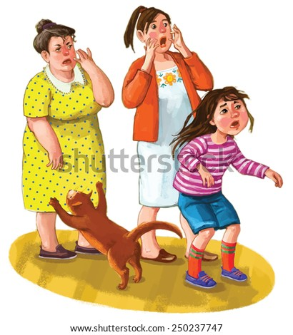 Grandmother with her daughter and grand daughter looking surprised and scared. Jumping cat. Children illustration on the white background. VECTOR.
