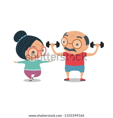 Grandparent, Old senior man and woman the condition of being physically fit and healthy. They are standing exercise for health together isolated on white background. vector and illustration.