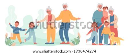 Grandparents and grandchildren. Kid run to visit old grandma and grandpa. Happy grandmother, grandfather and children family vector portrait