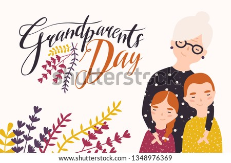 Grandparents Day greeting card template with cute grandmother and grandchildren. Grandma embracing grandson and granddaughter. Granny and grandkids. Loving family. Flat cartoon vector illustration.
