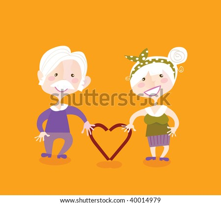 Grandparents in love. Grandmother and grandfather in love. Vintage vector illustraiton.