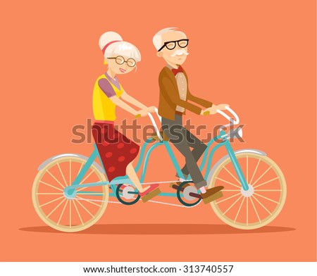 grandparents on bicycle vector