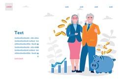 Grandparents retirees save money in piggy bank, old man, senior woman, Vector illustration for web banner, infographics, mobile