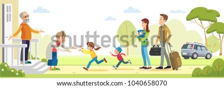 Grandparents welcoming grandchildren. Happy big family  together. vector flat illustration