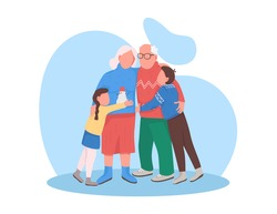 Grandparents with grandchildren on Christmas flat color vector faceless character. New Year celebration with children. Happy family isolated cartoon illustration for web graphic design and animation
