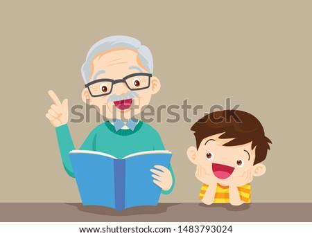 grandparents with grandchildren reading,The grandfather reading book for the grandchildren on the table to enjoy.Grandfather And Boy Reading A Book