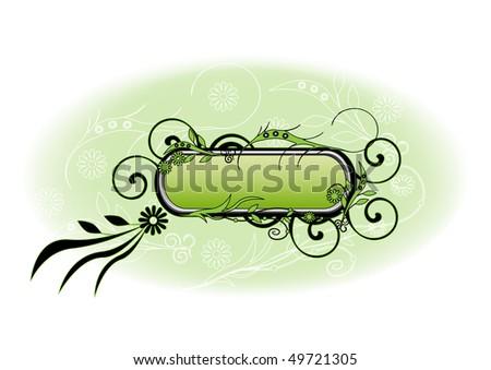 Grange floral frame - stock vector
