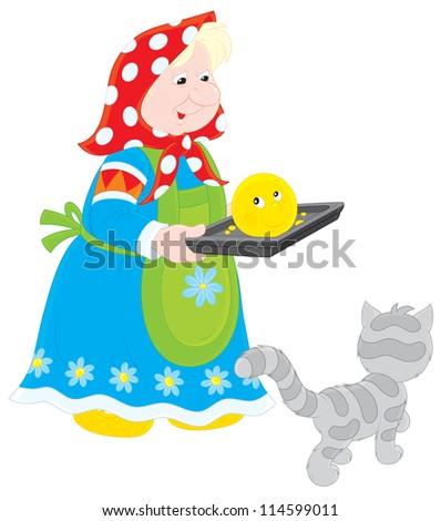 granny holds a freshly baked