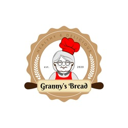 Granny's bread logo for cafe or home cooking restaurant. Pastry and bakery logotype. Vintage Retro Bakery Shop Label Sticker Logo design vector