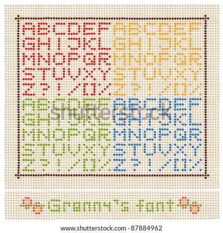 granny's font embroidery on the light background