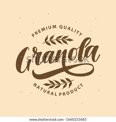 Granola  calligraphy lettering  logo template. Vector illustration.  Stockfoto ©