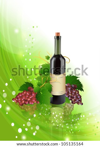 Grape and bottle of wine with reflection, vector