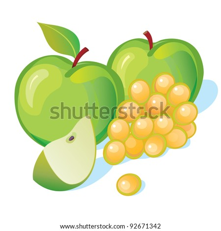 grape and two apples